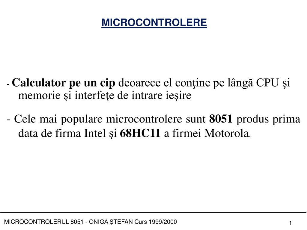 PPT - MICROCONTROLERE PowerPoint Presentation - ID:6772744