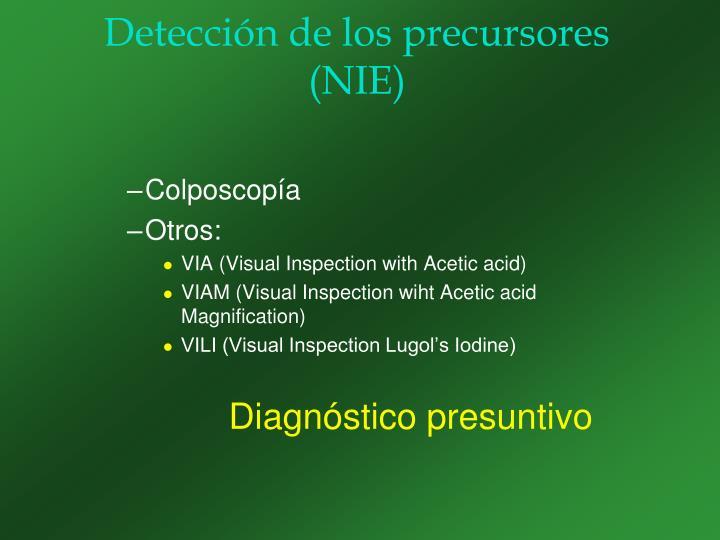 Detección de los precursores (NIE)