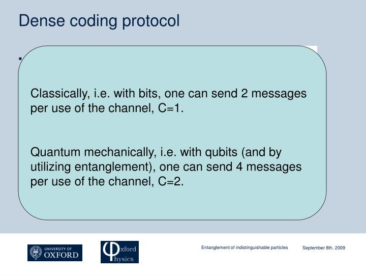 Dense coding protocol