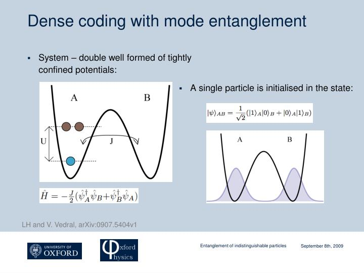 Dense coding with mode entanglement