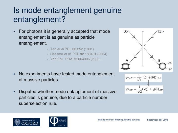 Is mode entanglement genuine entanglement?