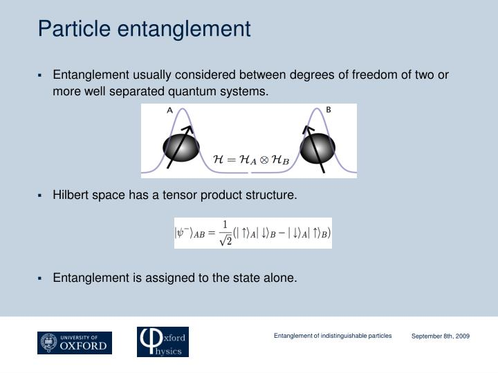 Particle entanglement