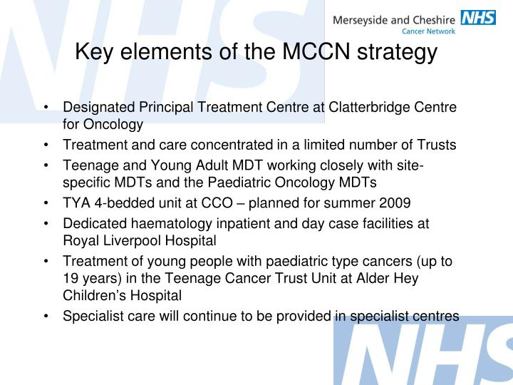 Key elements of the MCCN strategy