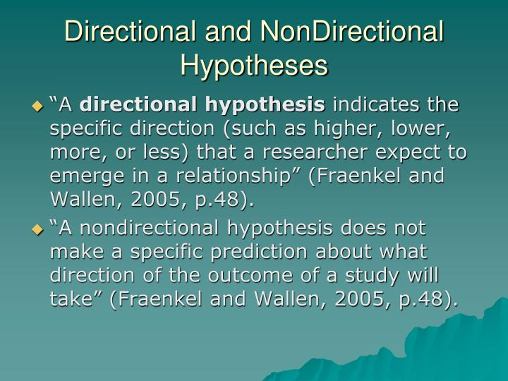 directional and non directional hypothesis