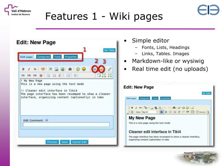 Features 1 - Wiki pages