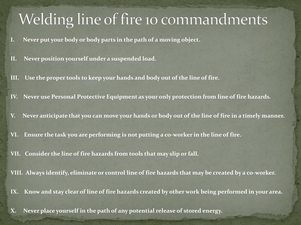 Ppt Line Of Fire 10 Commandments Powerpoint Presentation Free