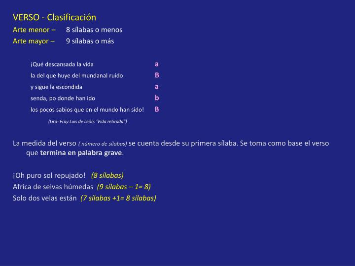 VERSO - Clasificación