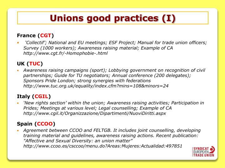 Unions good practices (I)
