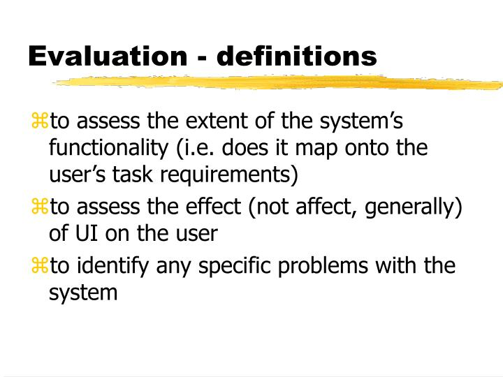 Evaluation definitions