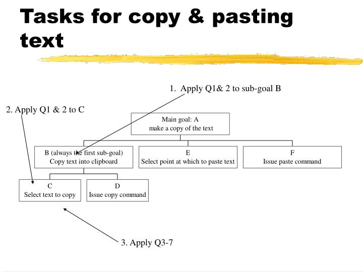 Tasks for copy & pasting text