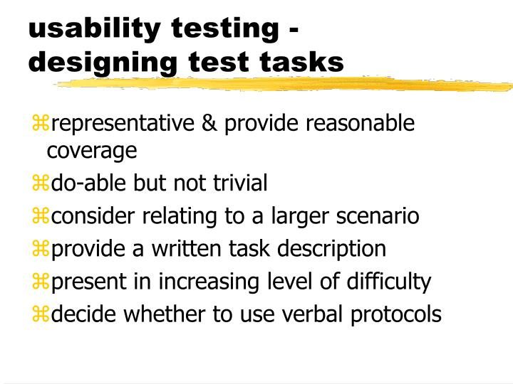 usability testing - designing test tasks