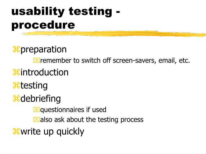 usability testing - procedure