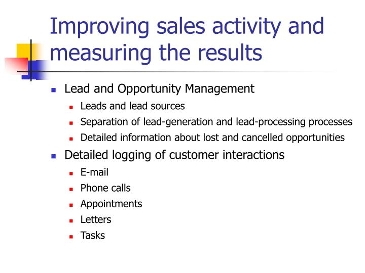 Improving sales activity and measuring the results