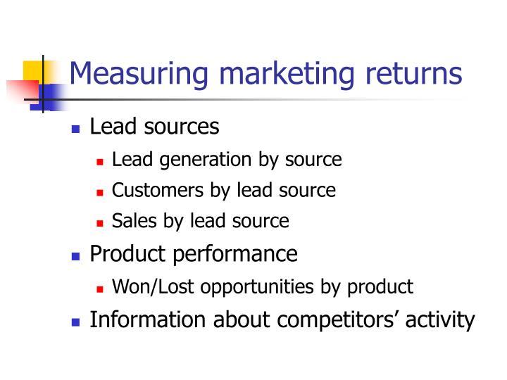 Measuring marketing returns