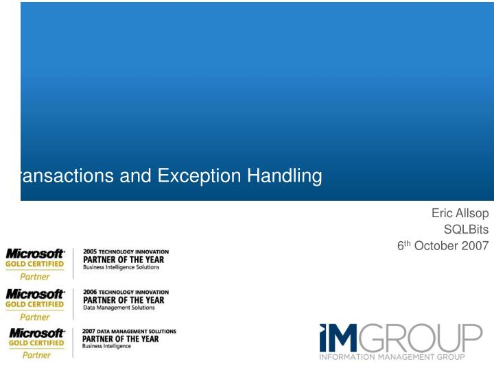 transactions and exception handling n.