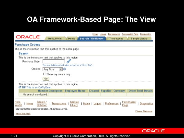OA Framework-Based Page: The View