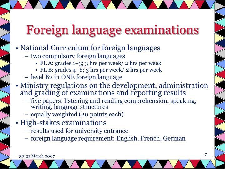 Foreign language examinations