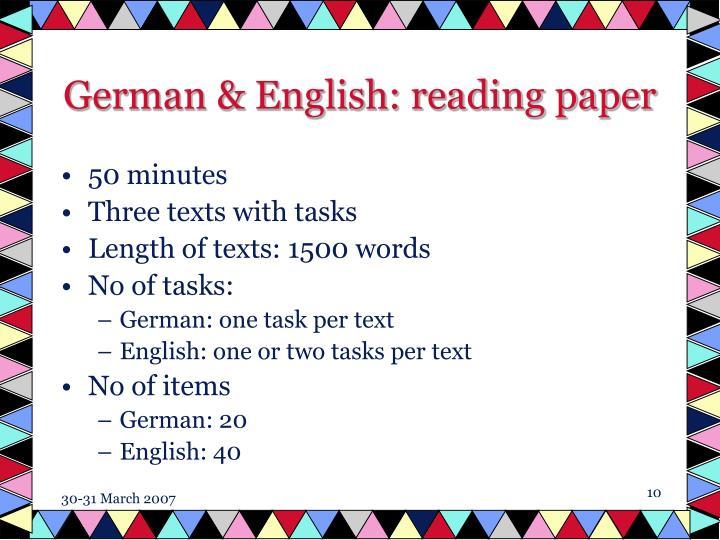 German & English: reading paper