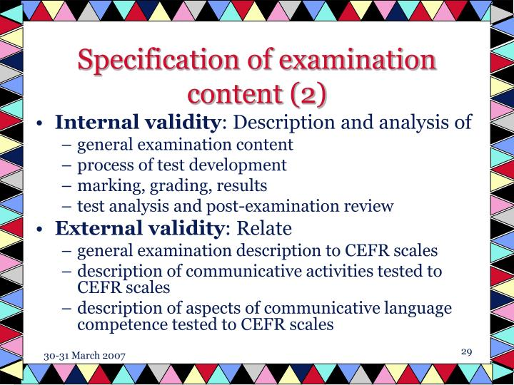 Specification of examination content