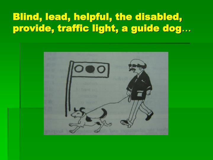 Blind, lead, helpful, the disabled, provide, traffic light, a guide dog