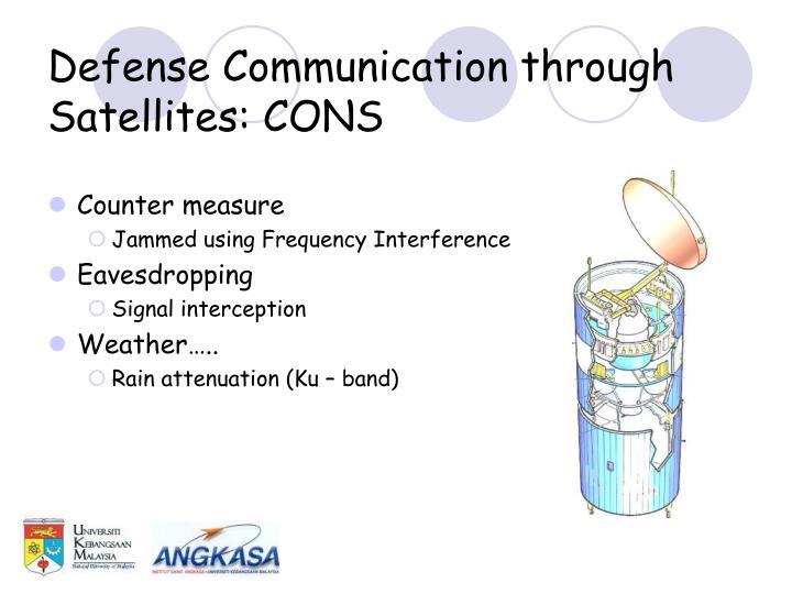 Defense communication through satellites cons