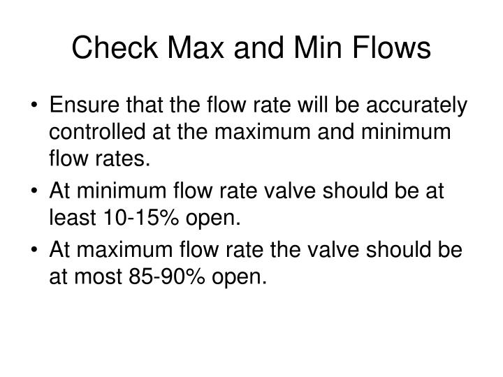 Check Max and Min Flows