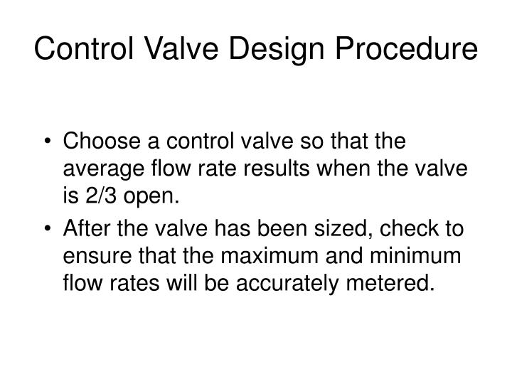 Control Valve Design Procedure
