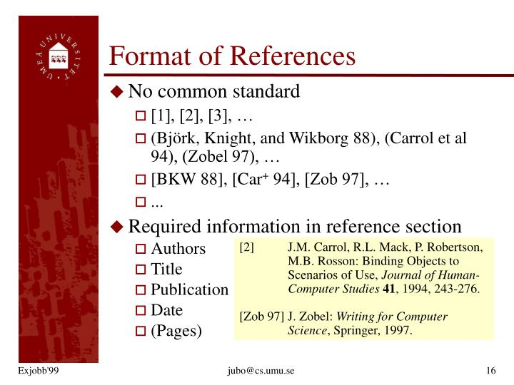 Format of References
