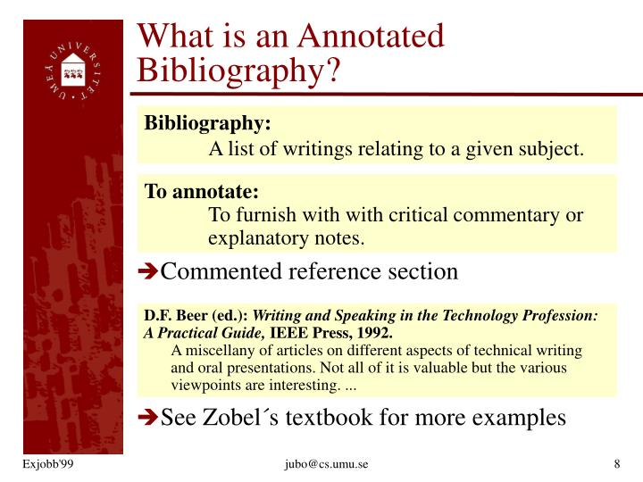 What is an Annotated Bibliography?