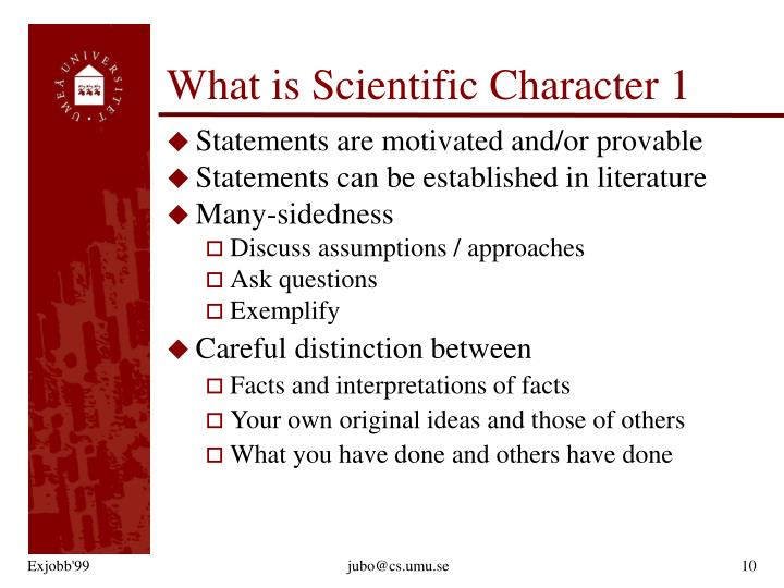What is Scientific Character 1