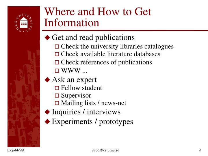 Where and How to Get Information