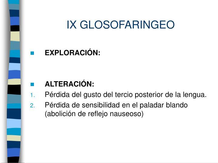 IX GLOSOFARINGEO