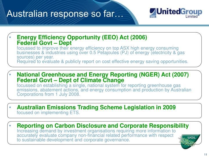 Australian response so far…