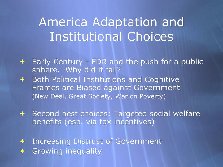 America Adaptation and Institutional Choices
