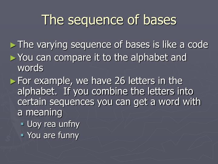The sequence of bases