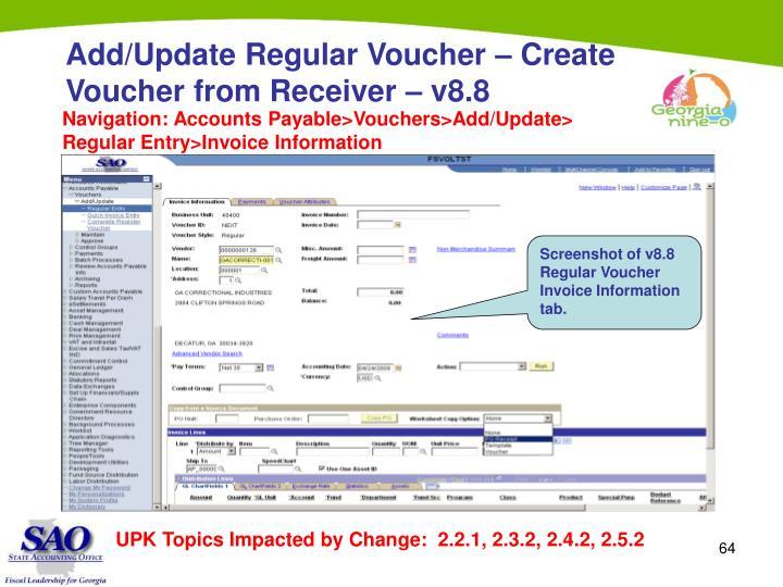 Add/Update Regular Voucher – Create Voucher from Receiver – v8.8