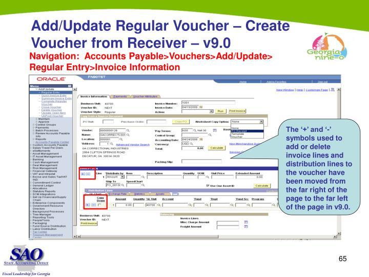 Add/Update Regular Voucher – Create Voucher from Receiver – v9.0