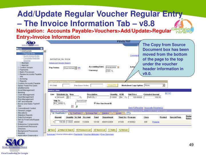 Add/Update Regular Voucher Regular Entry – The Invoice Information Tab – v8.8