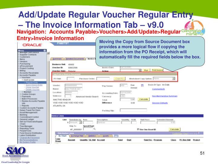 Add/Update Regular Voucher Regular Entry – The Invoice Information Tab – v9.0
