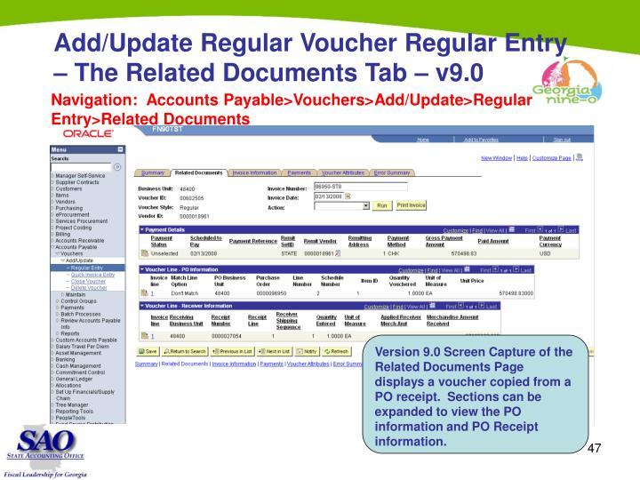 Add/Update Regular Voucher Regular Entry – The Related Documents Tab – v9.0