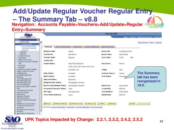 Add/Update Regular Voucher Regular Entry – The Summary Tab – v8.8