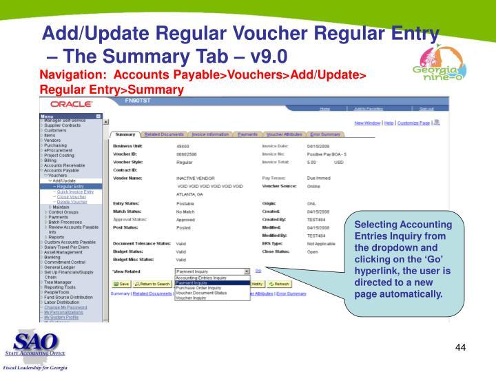 Add/Update Regular Voucher Regular Entry