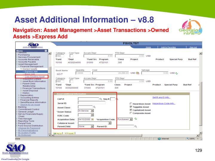 Asset Additional Information – v8.8