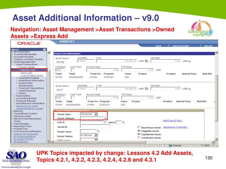 Asset Additional Information – v9.0