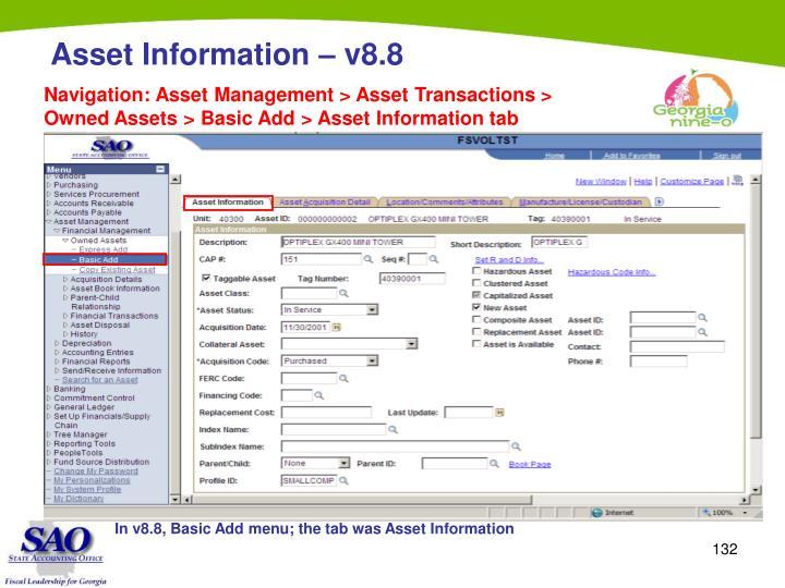 Navigation: Asset Management > Asset Transactions > Owned Assets > Basic Add > Asset Information tab