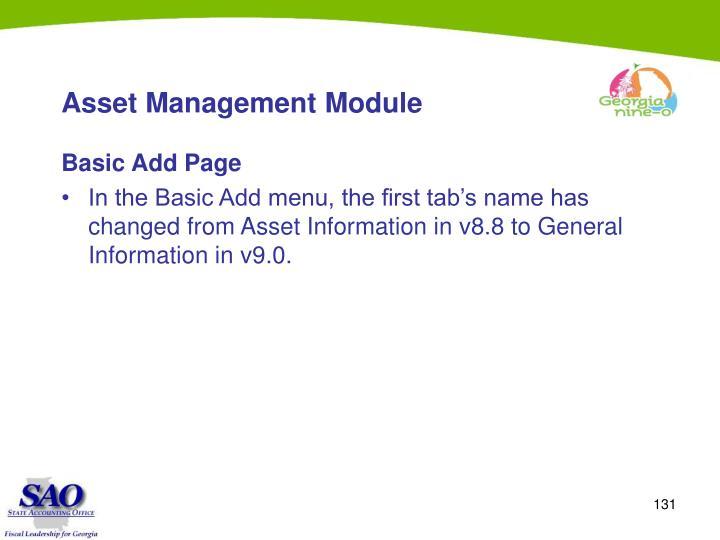 Asset Management Module
