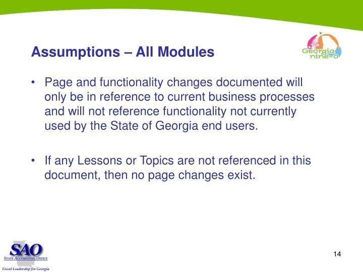 Assumptions – All Modules