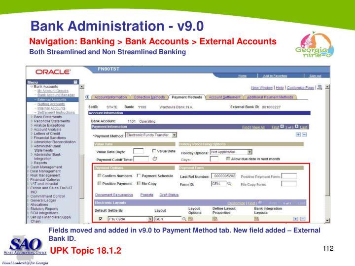 Navigation: Banking > Bank Accounts > External Accounts