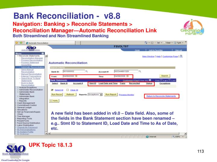 Navigation: Banking > Reconcile Statements > Reconciliation Manager—Automatic Reconciliation Link