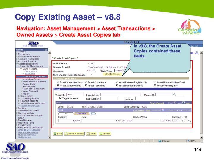 Copy Existing Asset – v8.8